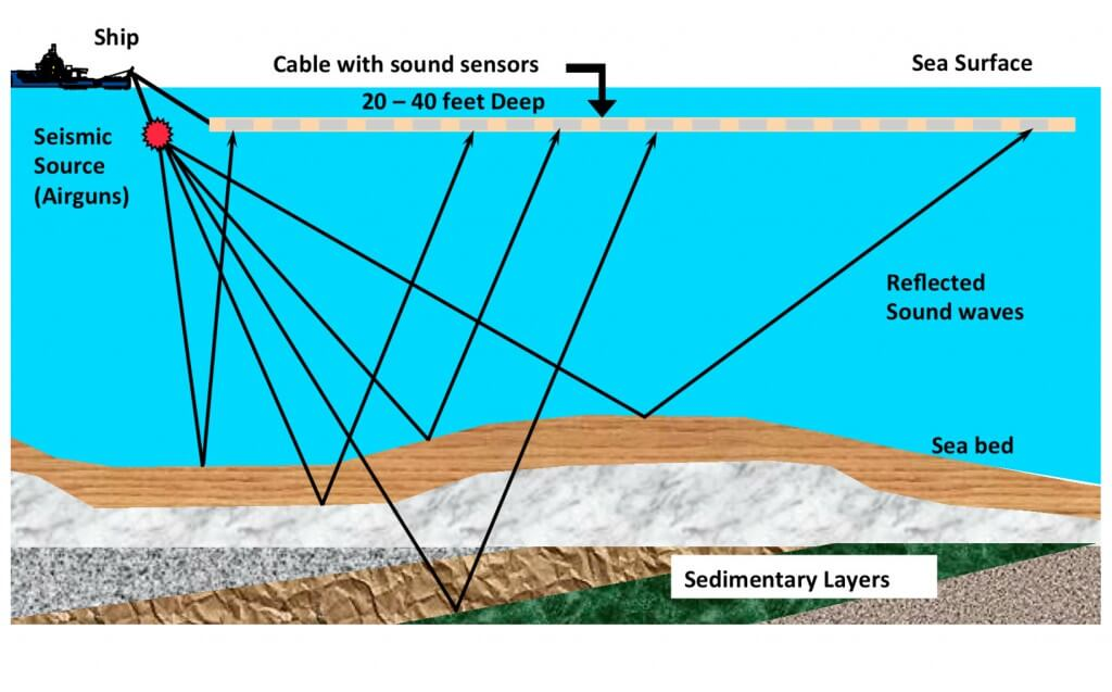Schematic of offshore seismic survey.