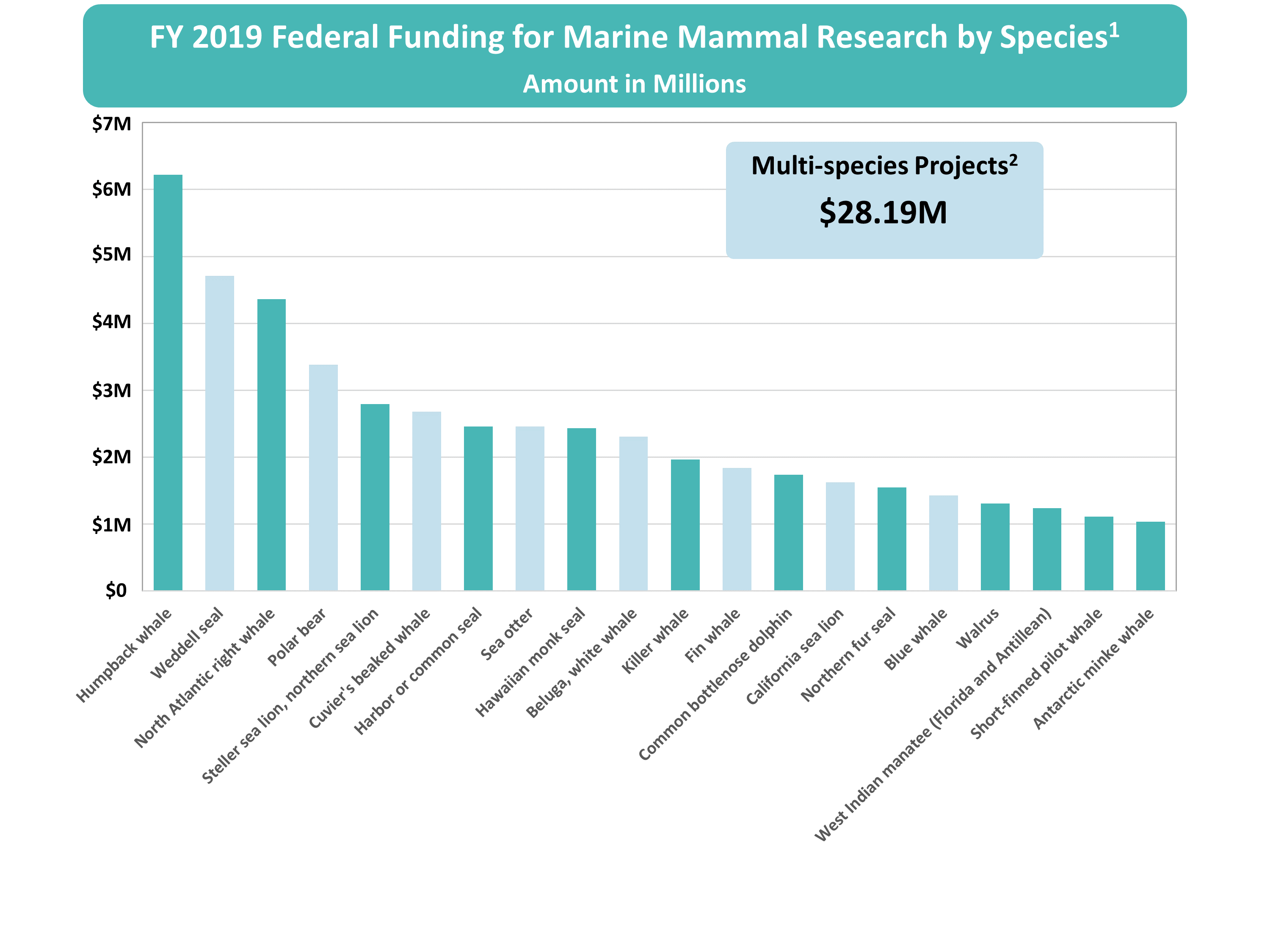 FY2019 Survey FFR results by species.