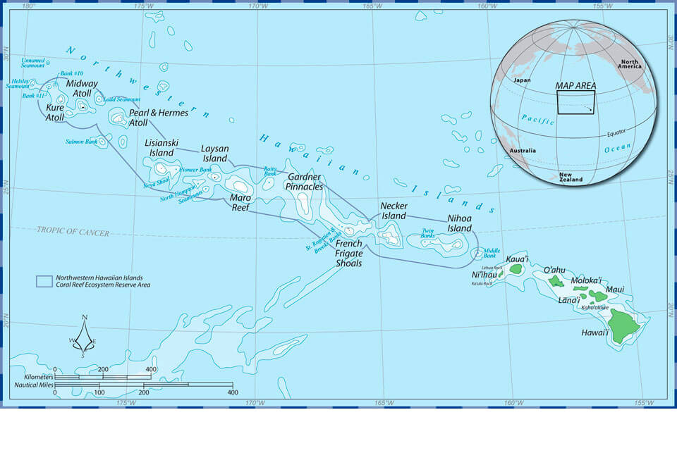 The Hawaiian Islands archipelago showing major Hawaiian monk seal breeding locations in the Northwestern Hawaiian Islands and the boundary of the Papahānaumokuākea Marine National Monument. (NOAA)