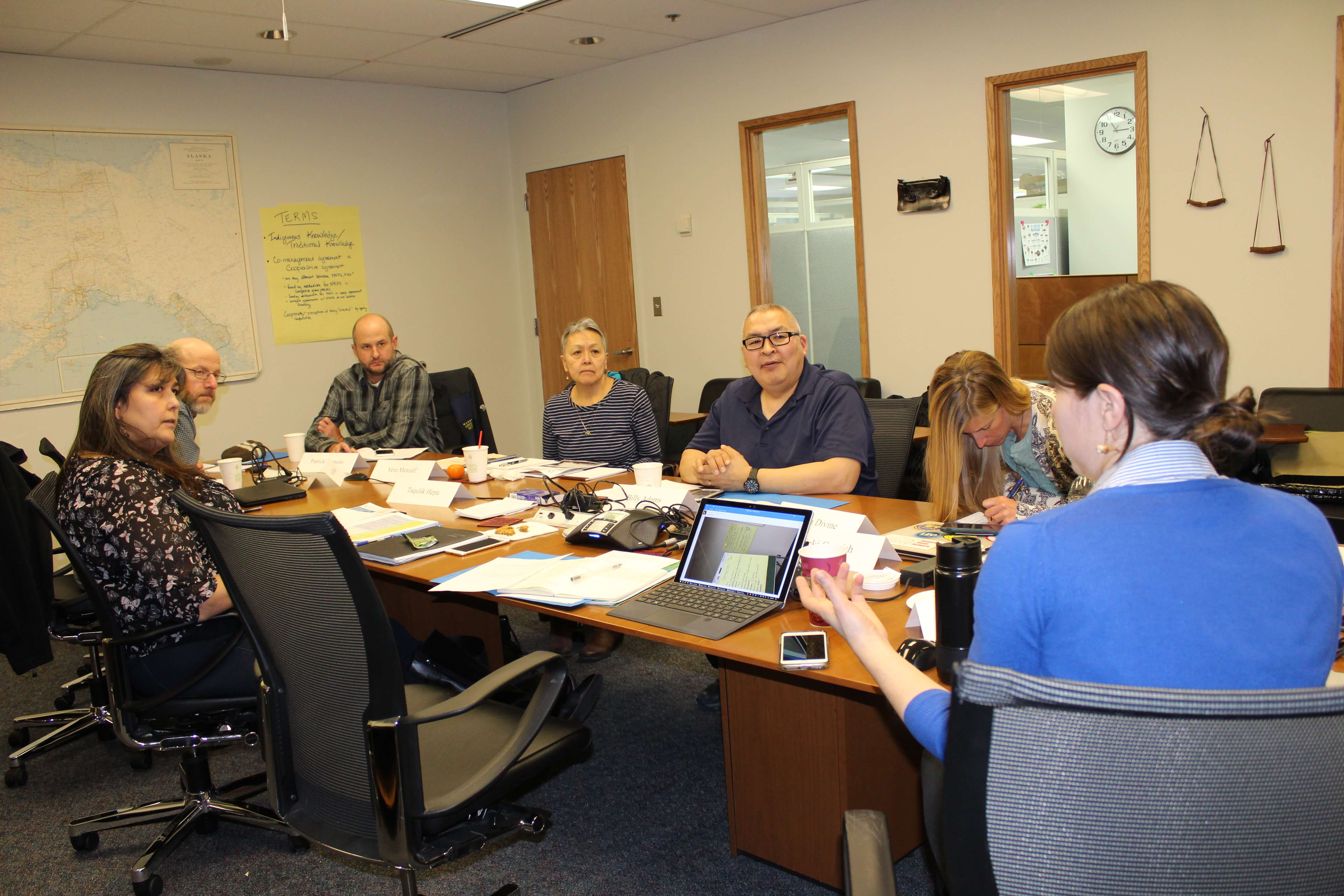 The co-management Steering Committee discussing which communities to visit during summer 2018.