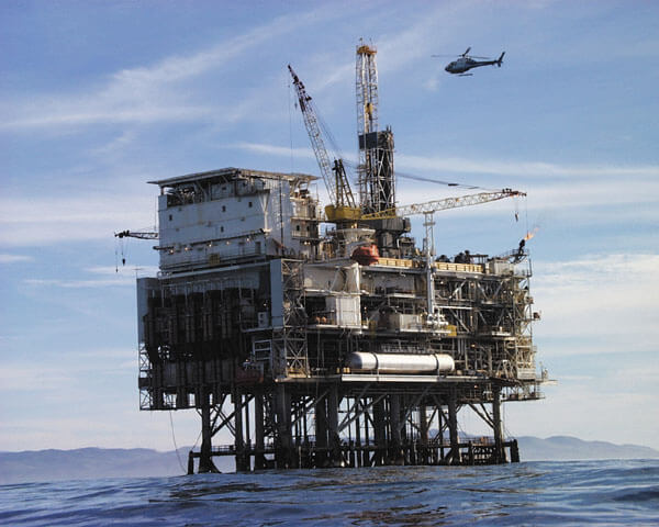 Oil platform located 10 km off the coast of central California near Point Conception near gray whale migration route image