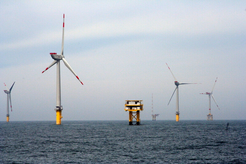 Image of offshore wind farm off the cost of Germany.