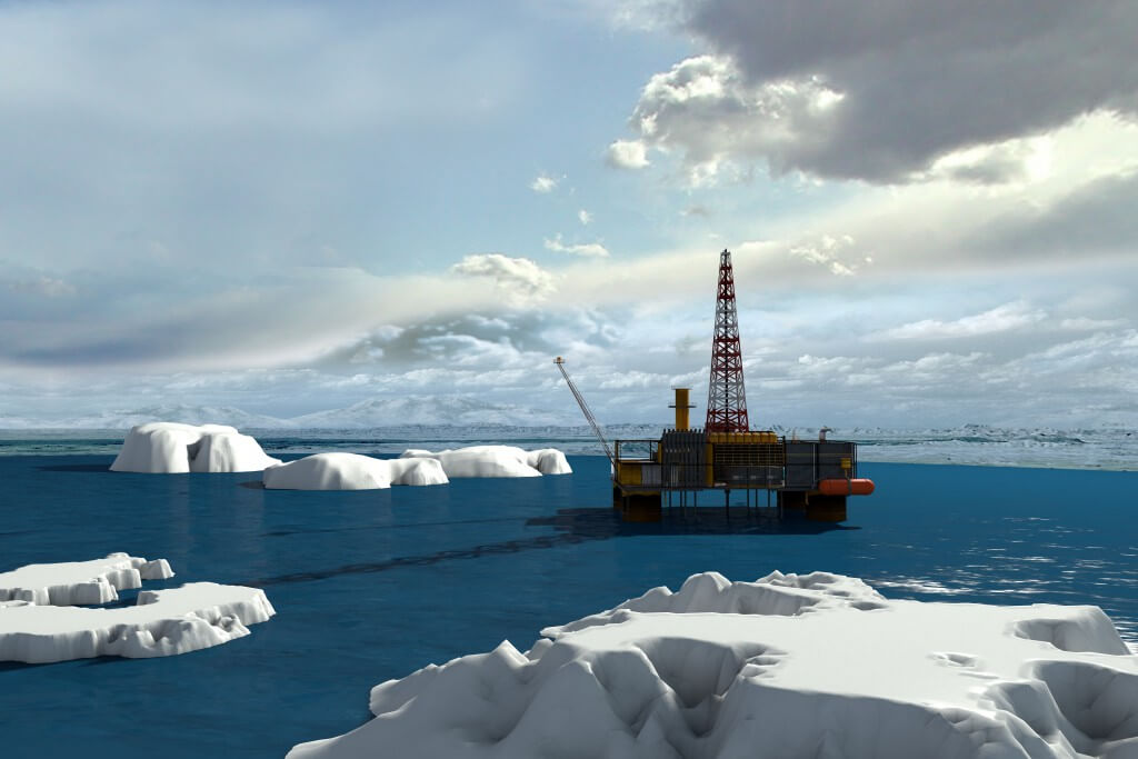 Oil platform in the Arctic Ocean.